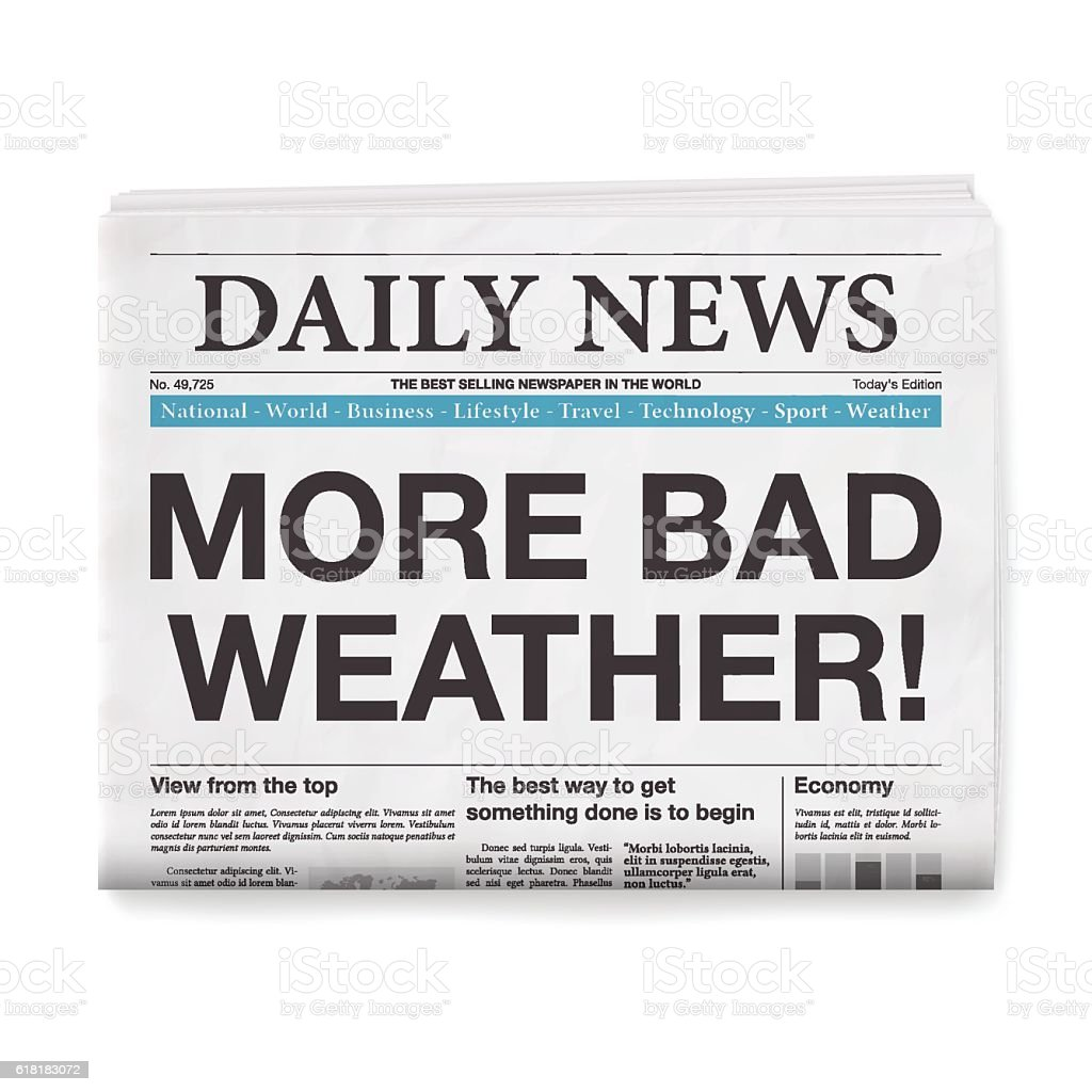MORE BAD WEATHER! Headline. Newspaper isolated on White Background vector art illustration