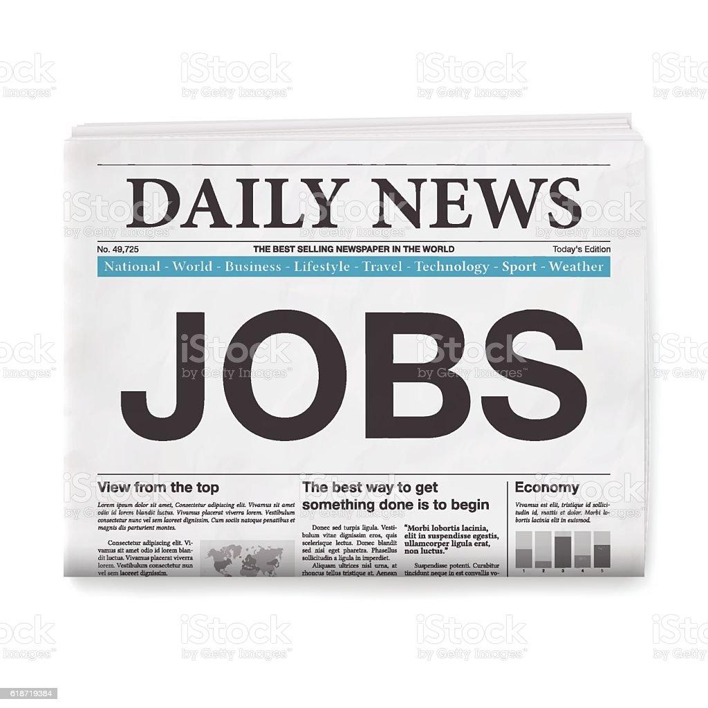 JOBS Headline. Newspaper isolated on White Background vector art illustration
