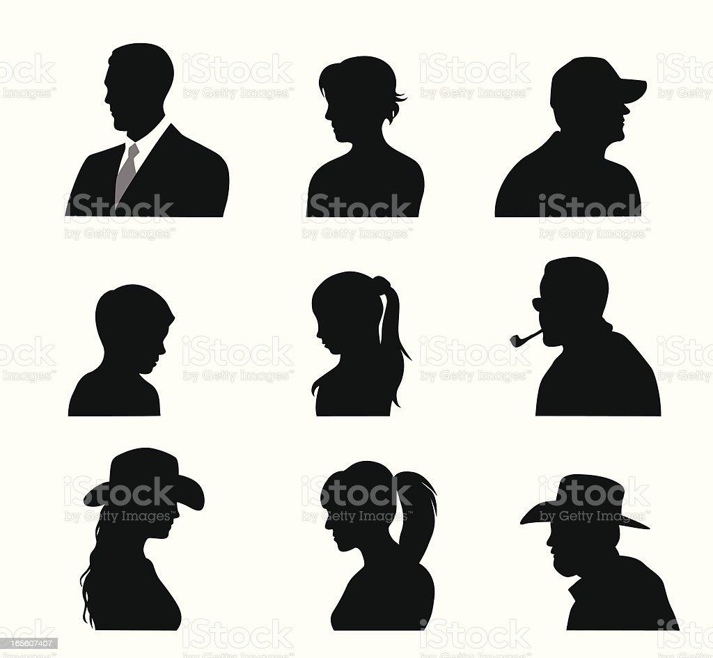 Head'n Shoulders Vector Silhouette vector art illustration
