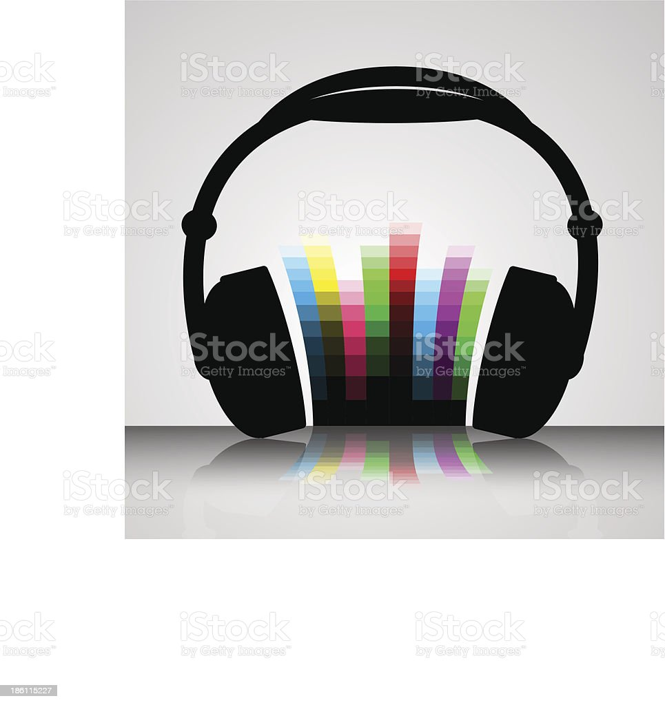Headphone colors music royalty-free stock vector art