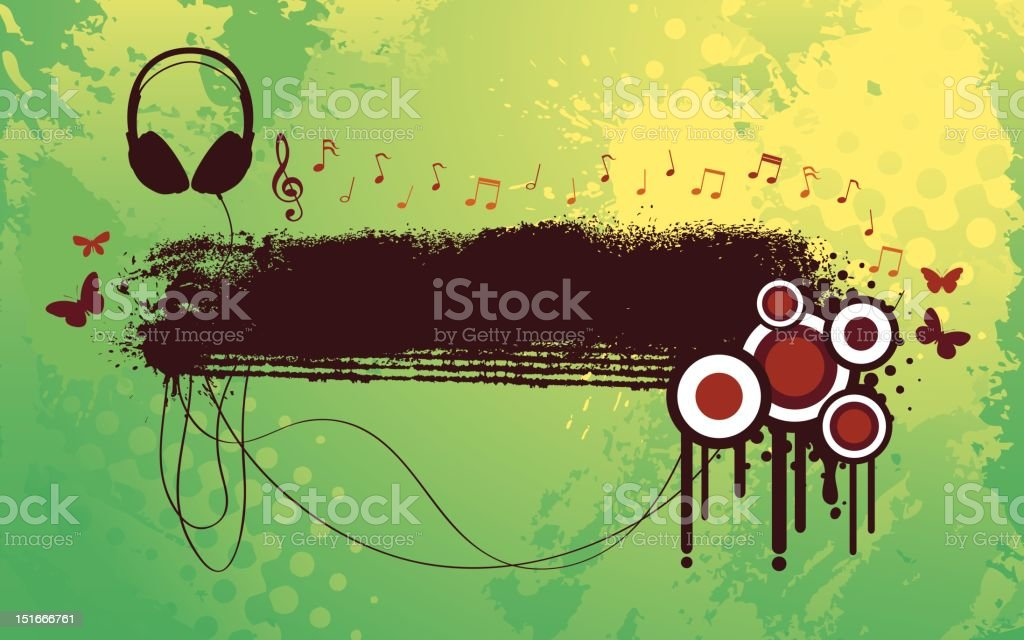 Headphone Funky Banner royalty-free stock vector art