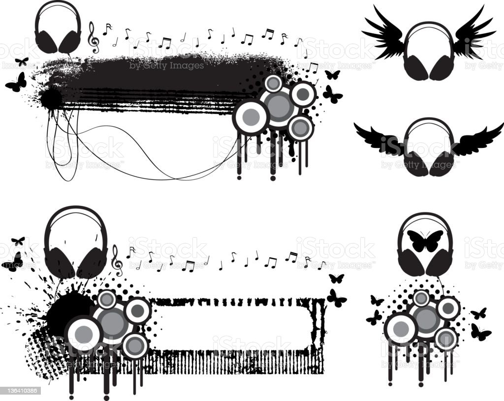 Headphone Funky Banners royalty-free stock vector art