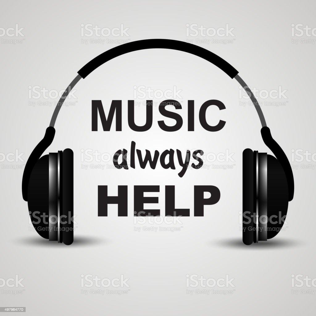 Headphone. Music always help vector art illustration