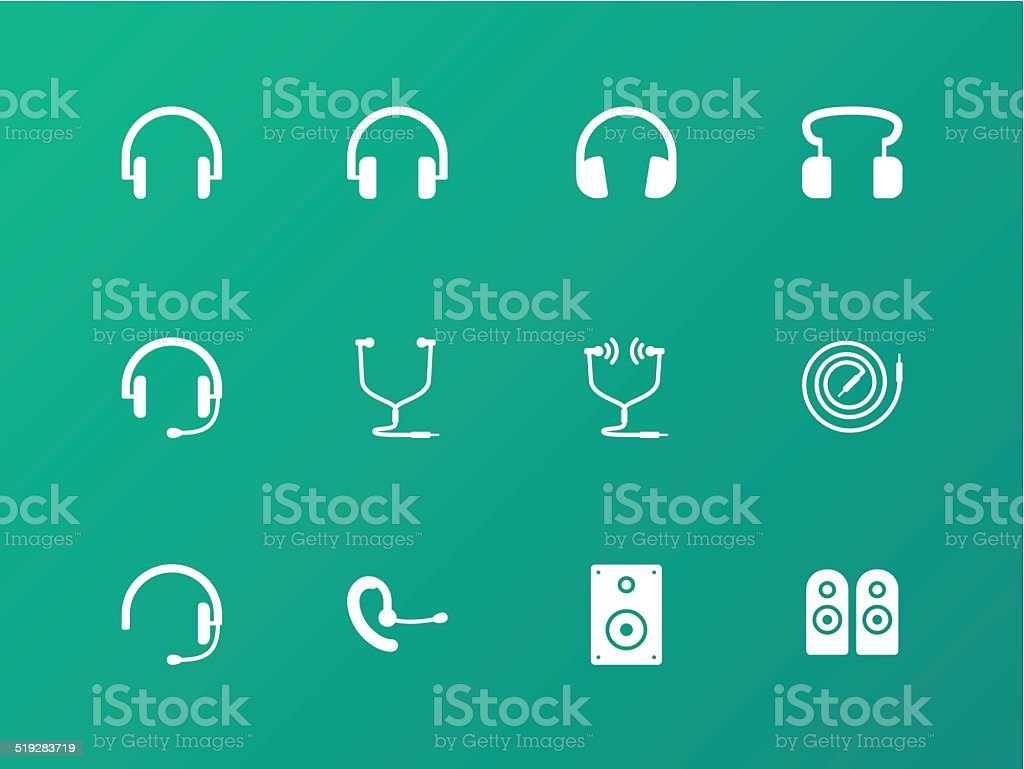Headphones and headset icons on green background. vector art illustration