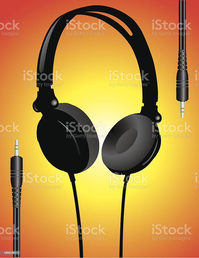 DJ Headphones and Jacks royalty-free stock vector art