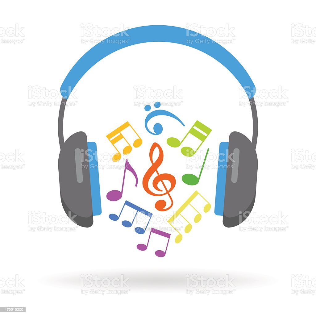 Headphones and musical notes vector art illustration
