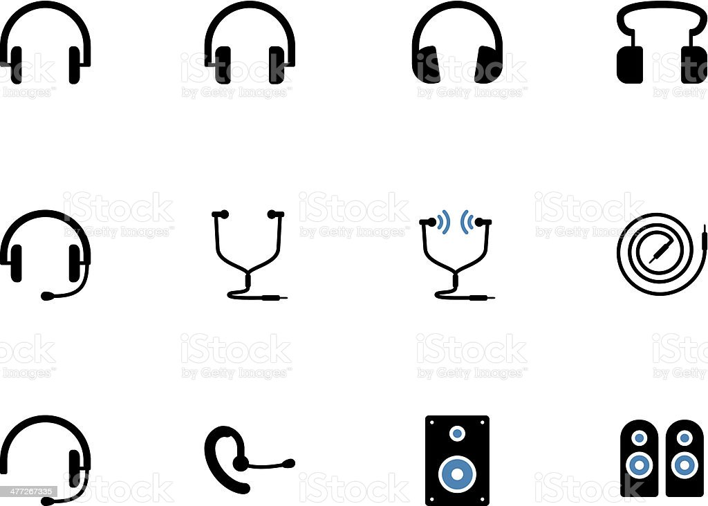 Headphones and speakers duotone icons. vector art illustration