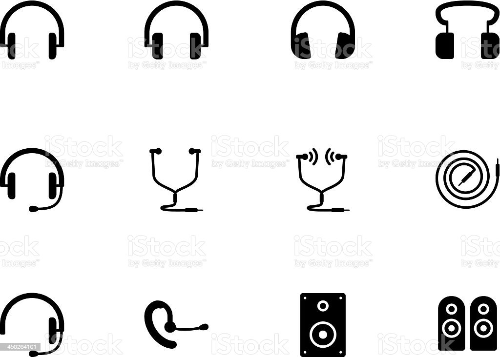 Headphones and speakers icons on white background. vector art illustration