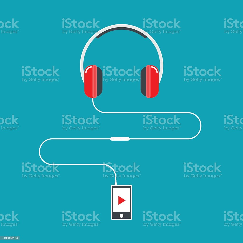 Headphones connected to music player. vector art illustration