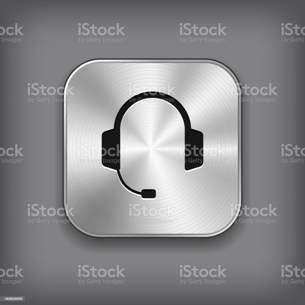 Headphones icon - vector metal app button vector art illustration