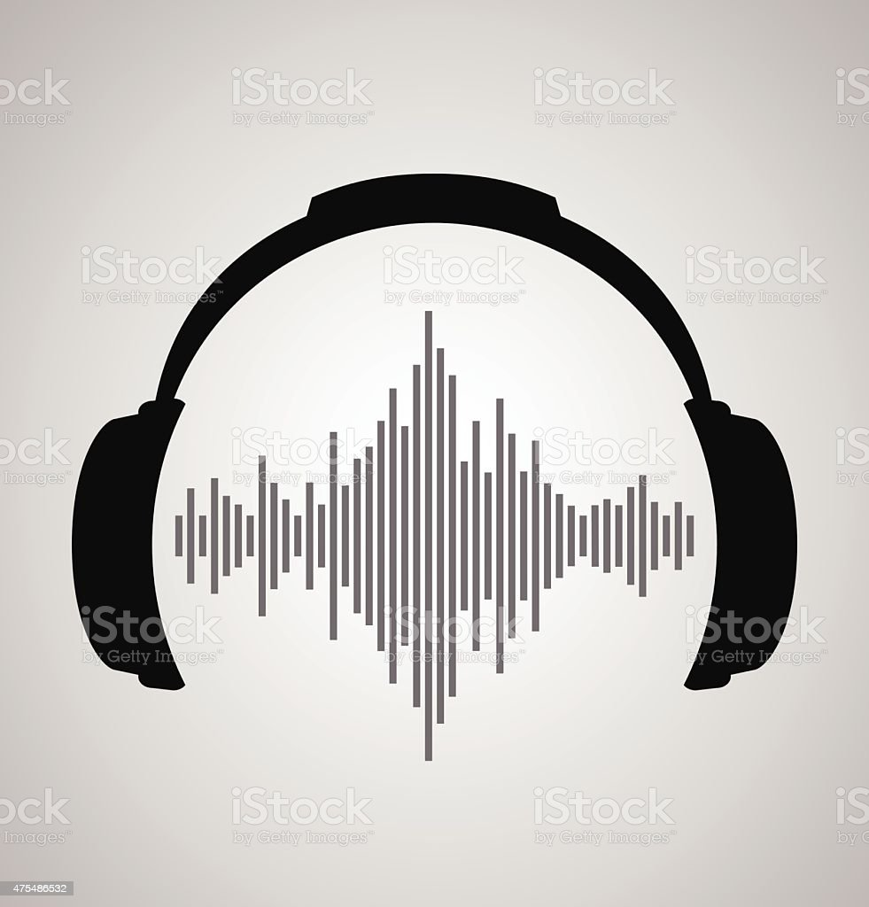 headphones icon with sound wave beats. Vector flat illustration vector art illustration