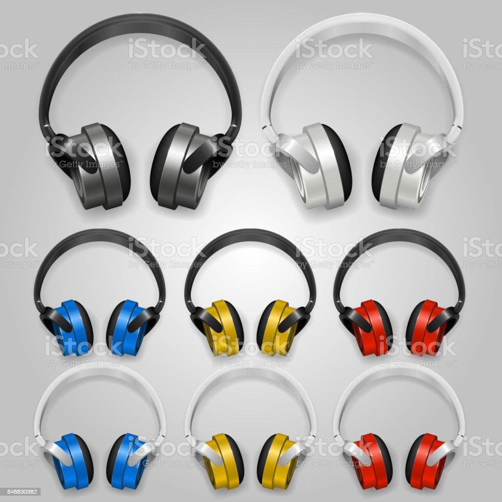 Headphones set color. Vector vector art illustration