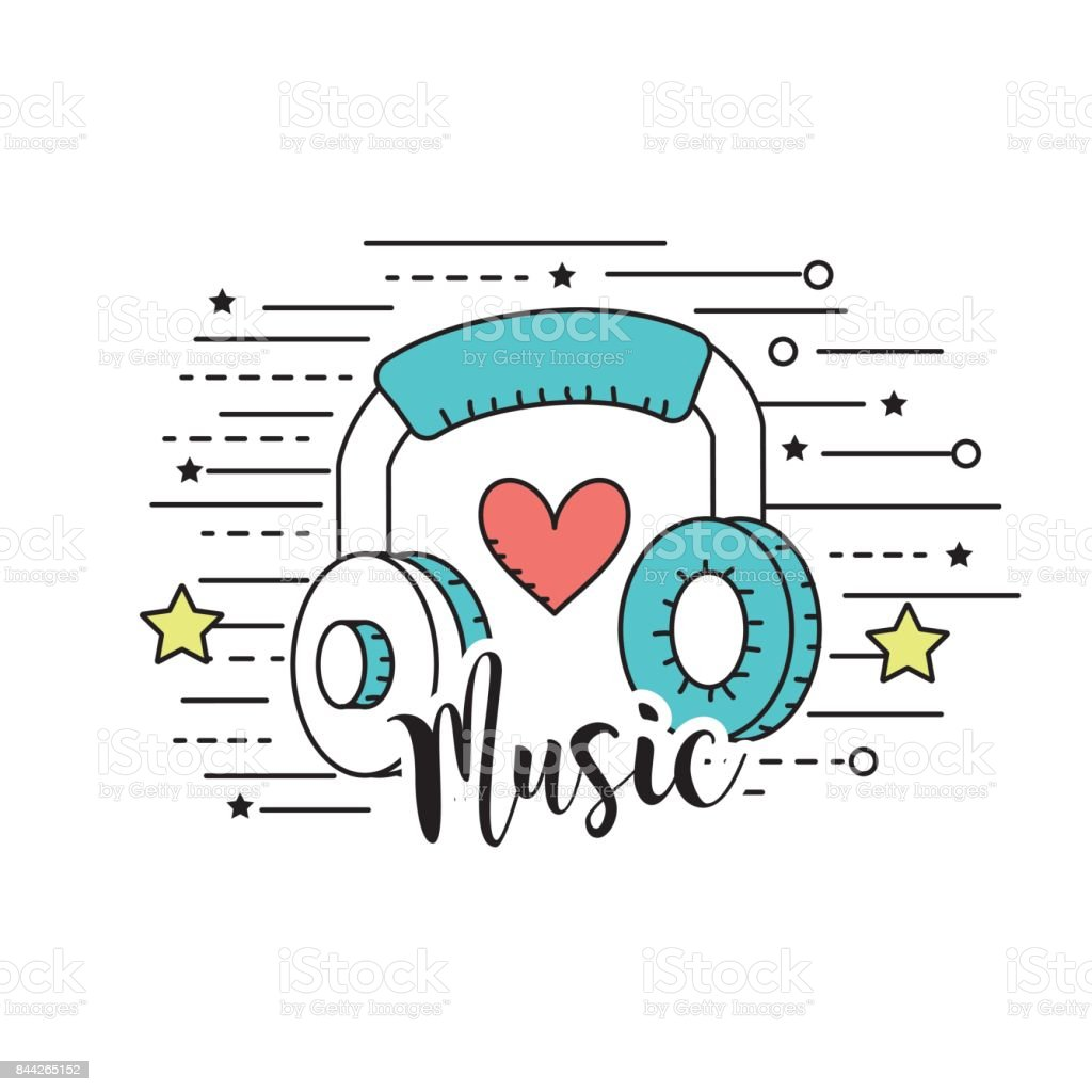 headphones to listen and play music vector art illustration
