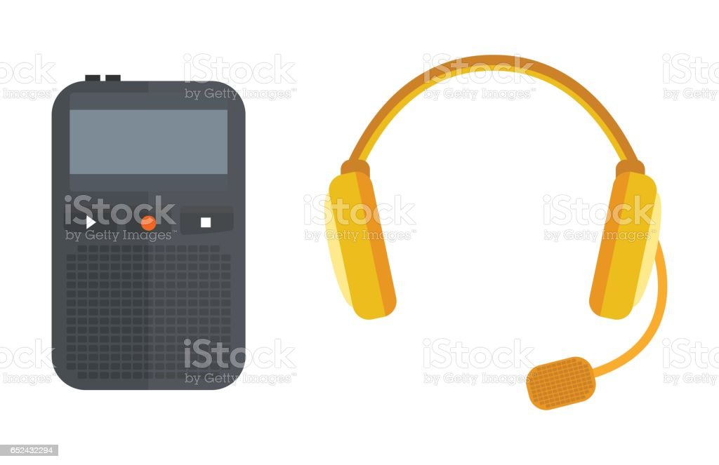 Headphones vector icon isolated microphone interview music TV tool show voice radio broadcast audio record studio sound media tape recorder dictaphone vector art illustration
