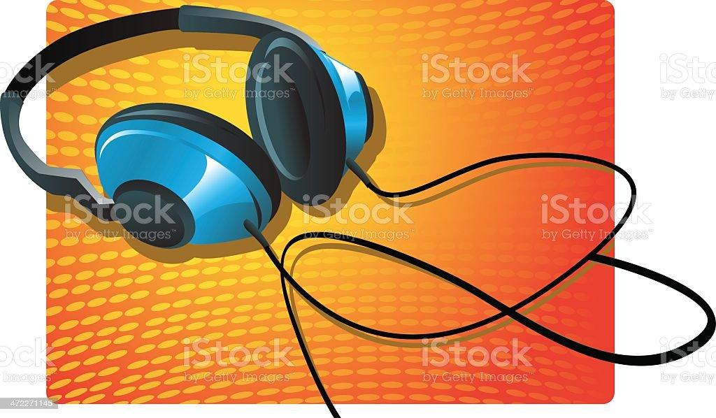 headphones vector art illustration