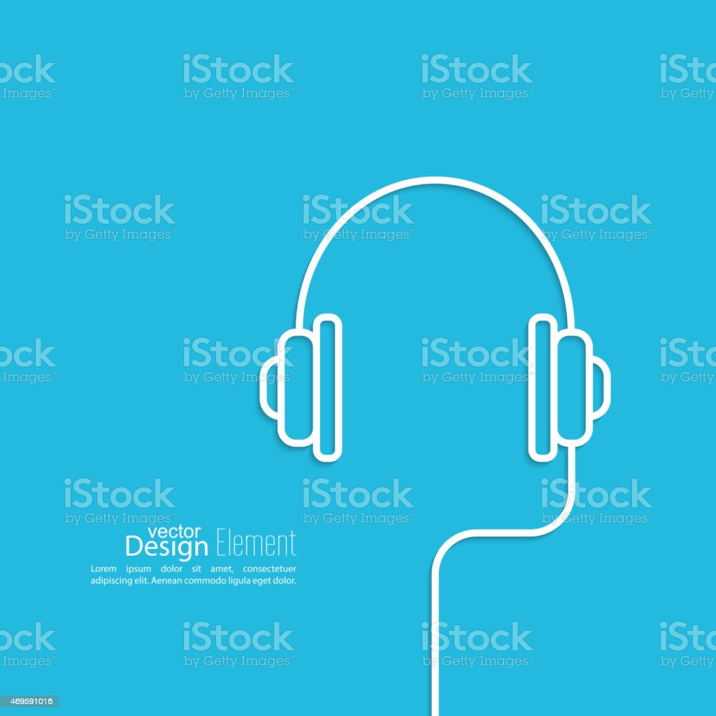 Headphones with a wire vector art illustration