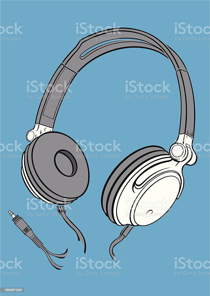 headphones with plug vector art illustration