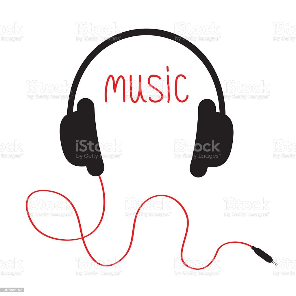 Headphones with red cord and word Music. Card. Flat White vector art illustration