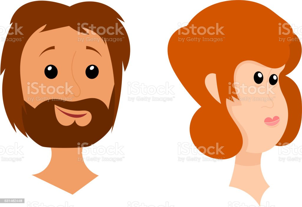 Heads of men and women on a white background.Stock vector vector art illustration