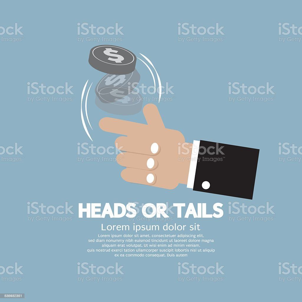 Heads Or Tails Cast Lots Concept vector art illustration