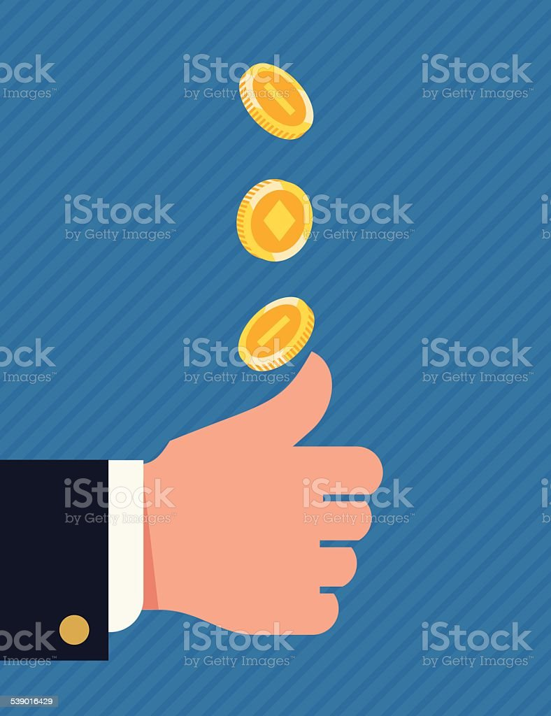 Heads or tails concept background vector art illustration