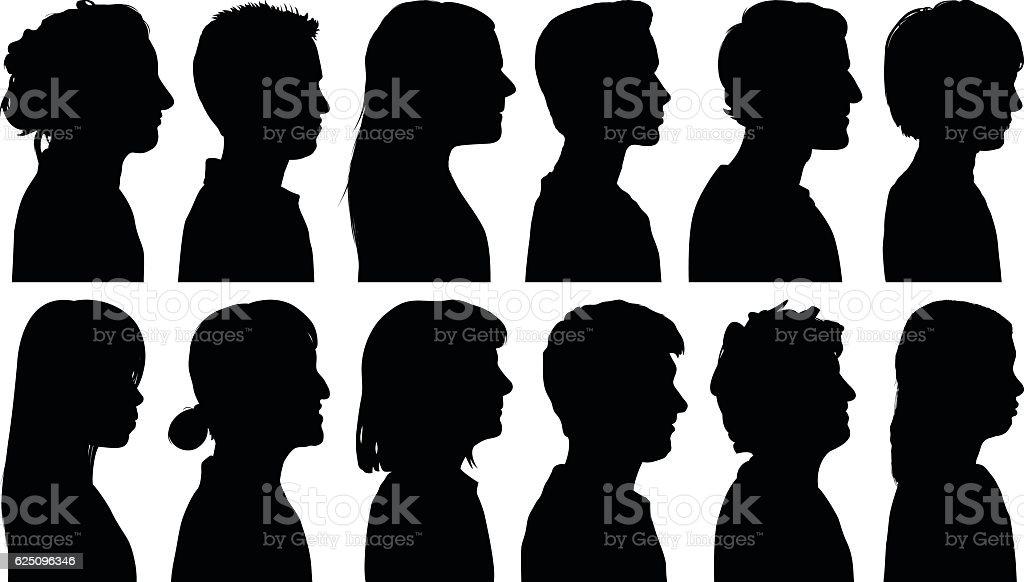 Heads vector art illustration