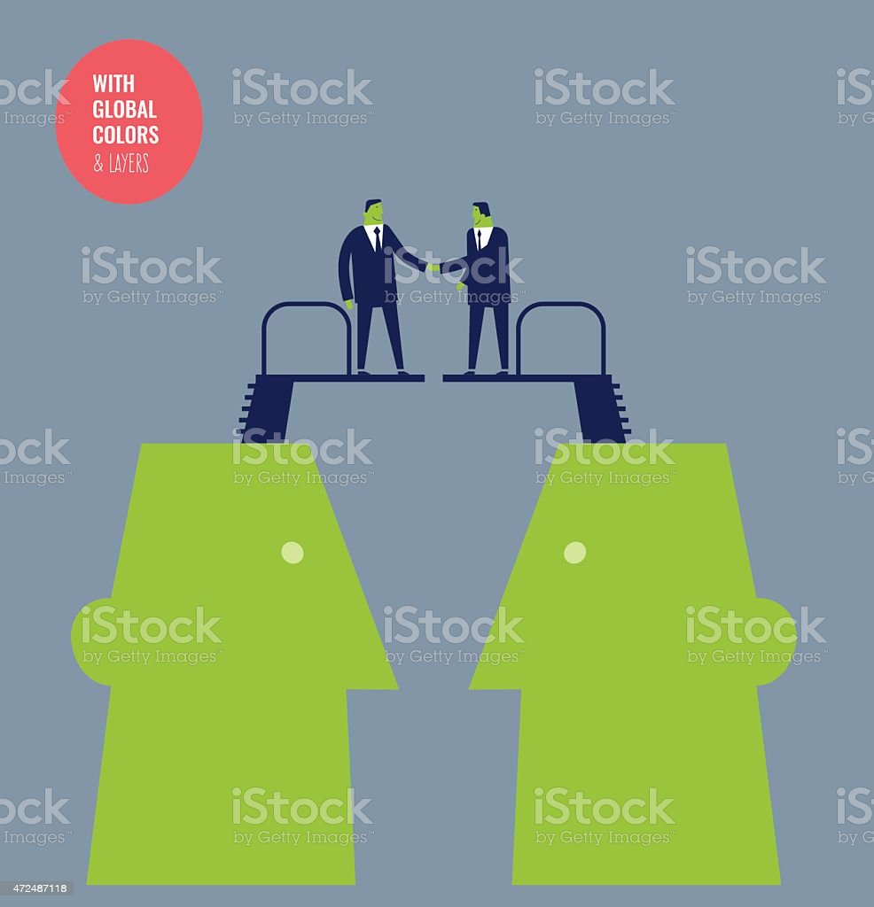 Heads with diving boards and businessmen shaking hands vector art illustration