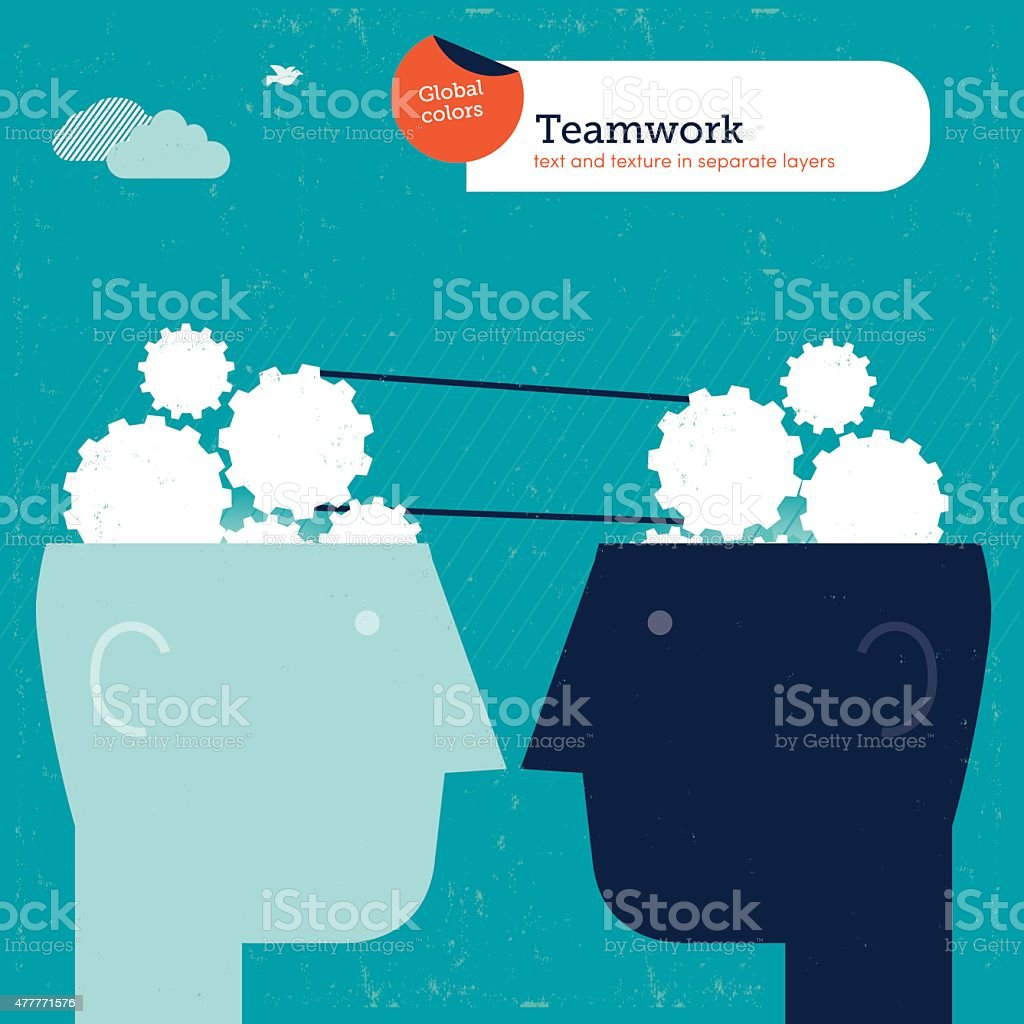 Heads with gears and brains working together vector art illustration