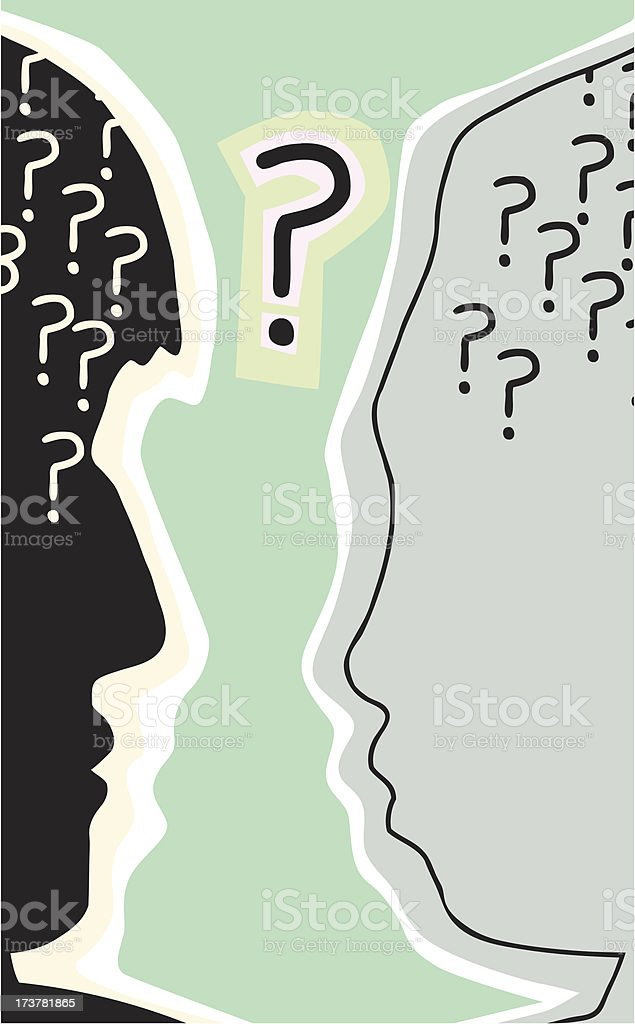 Heads with Question Mark vector art illustration