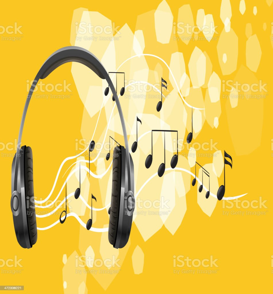 Headset and the musical notes royalty-free stock vector art