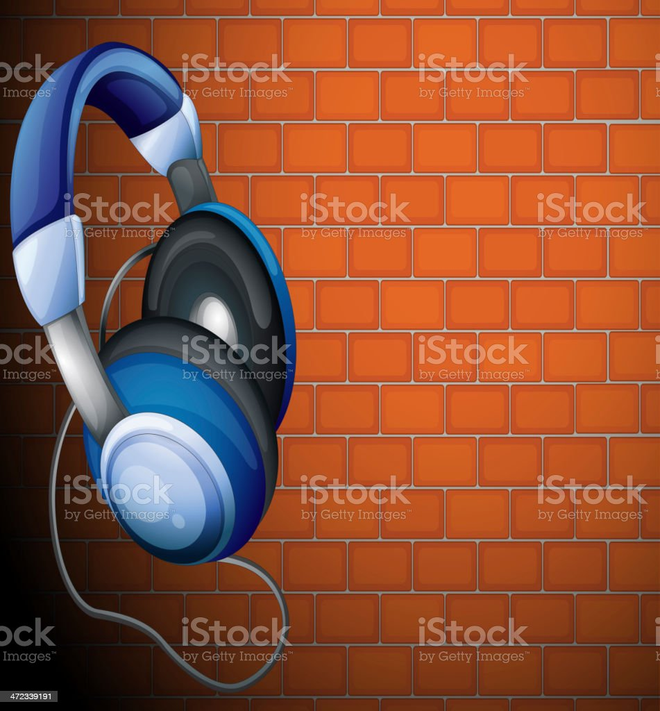 Headset beside the wall royalty-free stock vector art