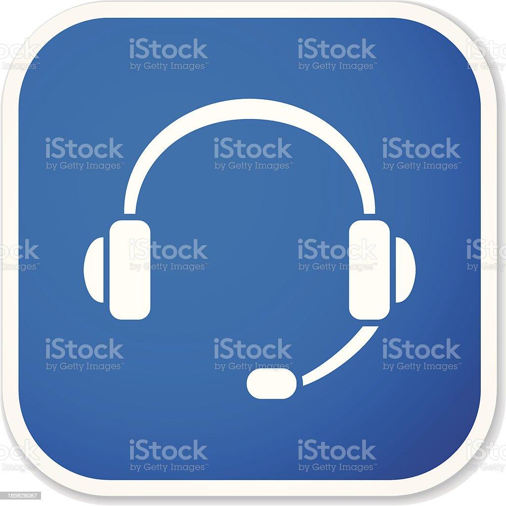 headset sq sticker royalty-free stock vector art