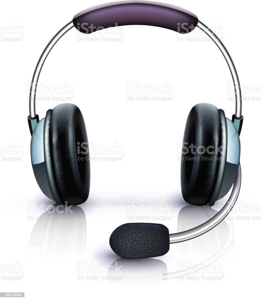 Headset with microphone on a white surface vector art illustration