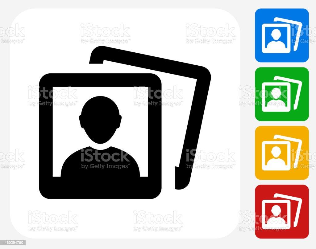 Headshot Pictures Icon Flat Graphic Design vector art illustration