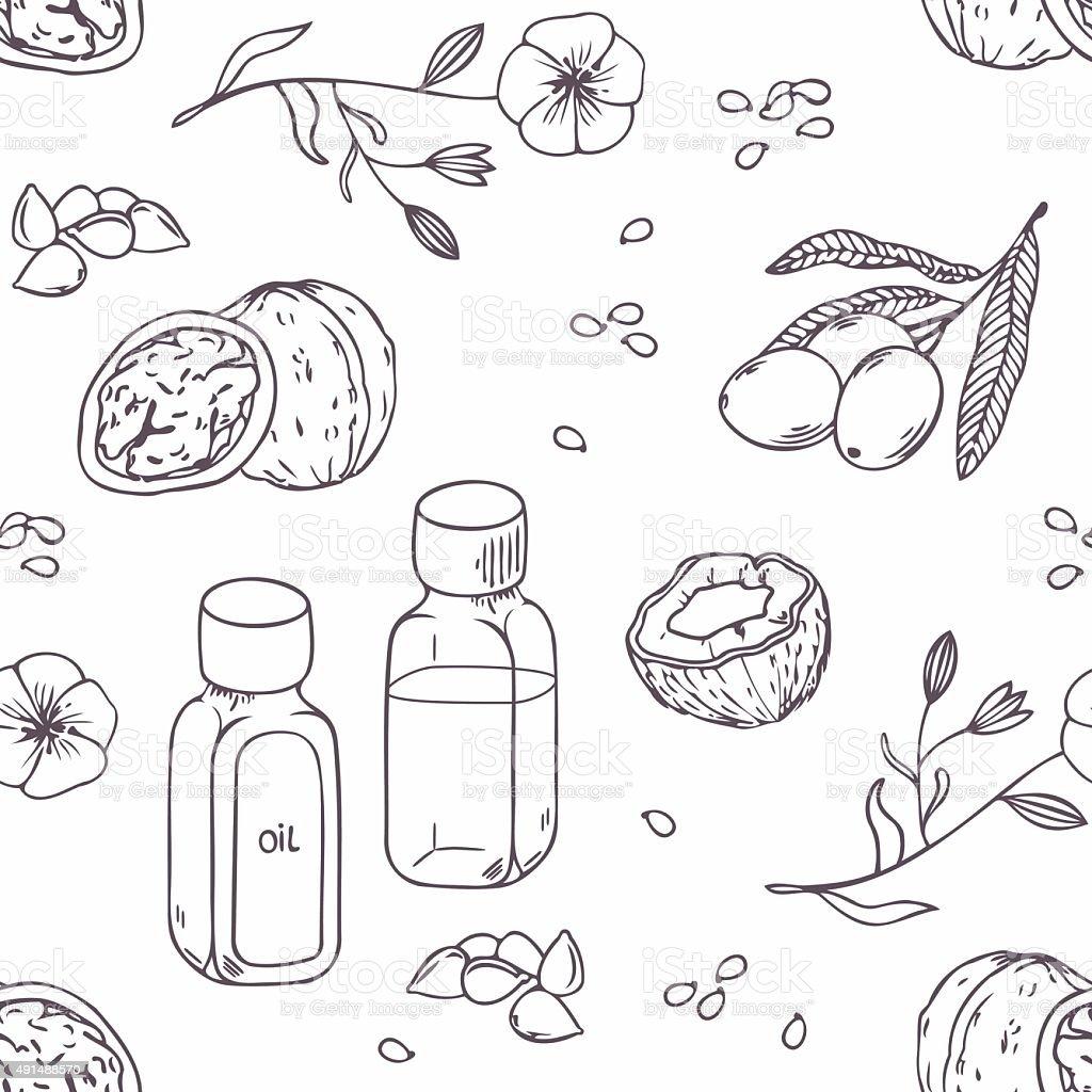 Healing oils outline seamless pattern. Healthy background vector art illustration