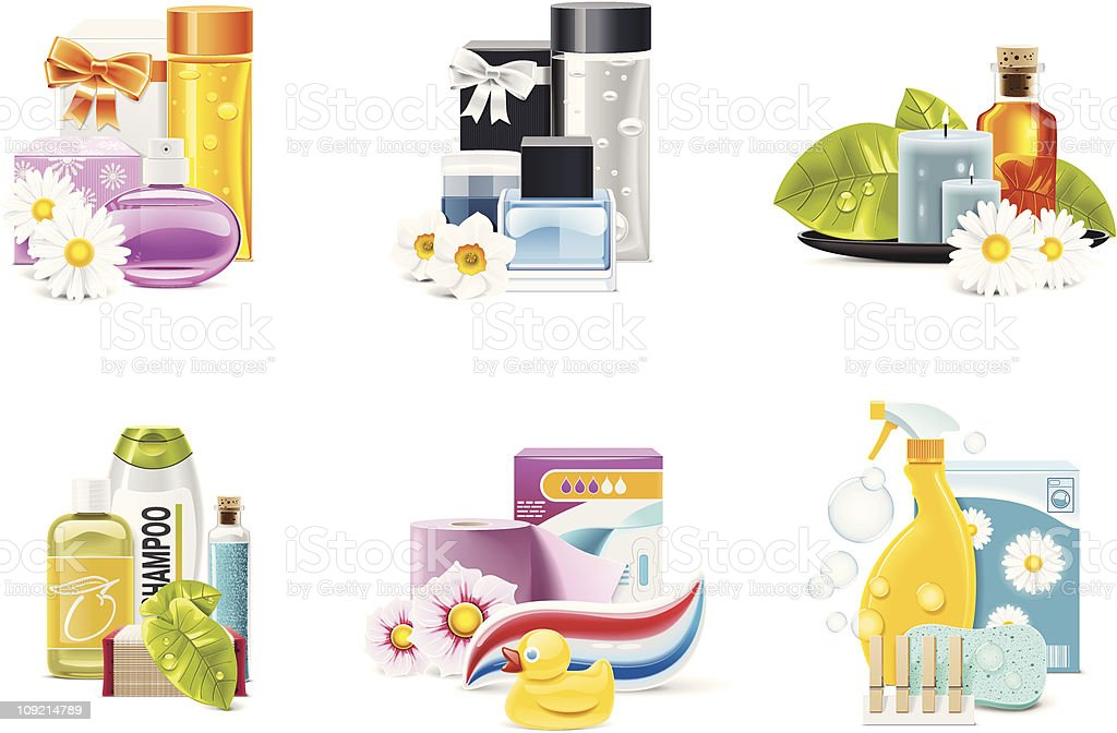 Health and beauty supplies icons vector art illustration