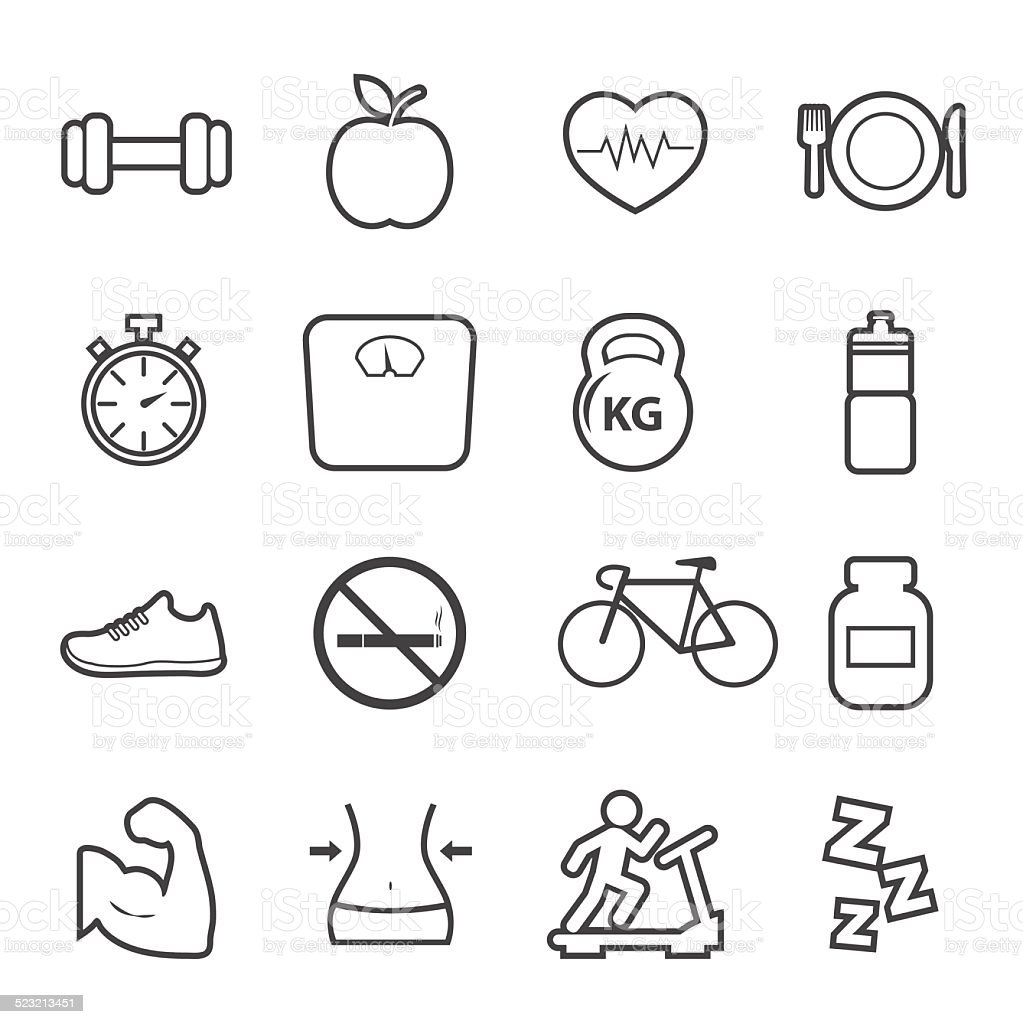 Health and Fitness icon vector art illustration