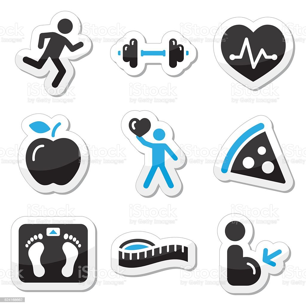 Health and fitness icons set vector art illustration