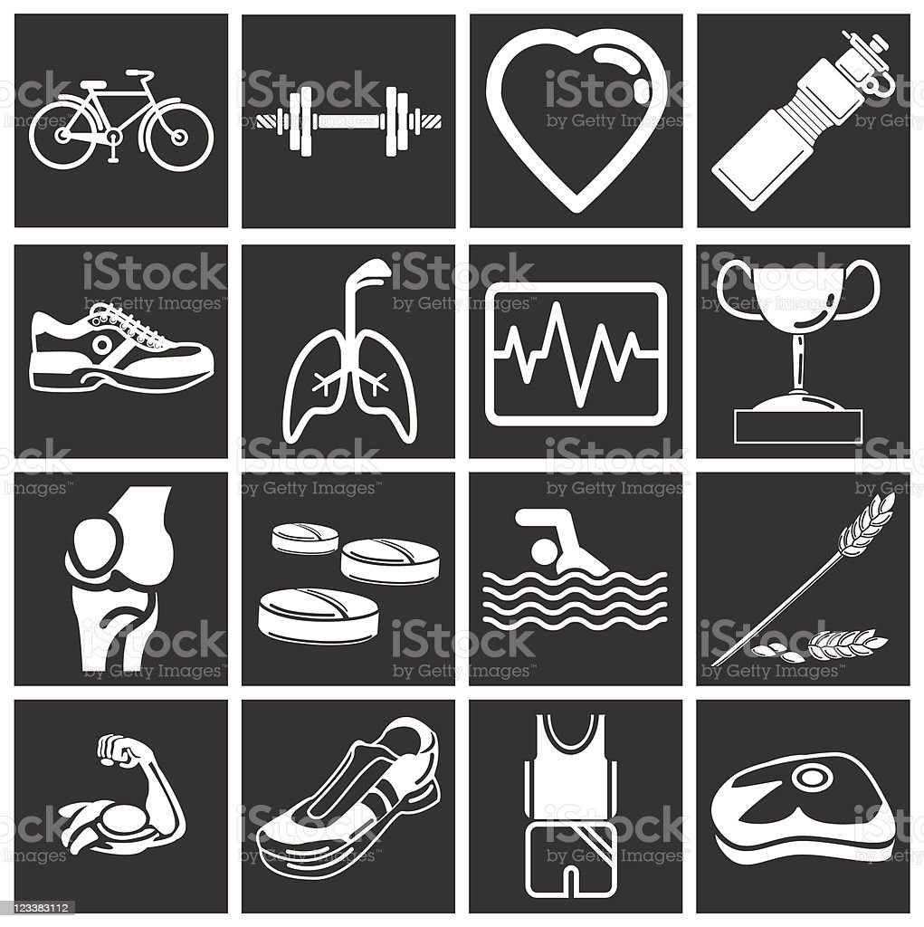 Health and Fitness icons royalty-free stock vector art