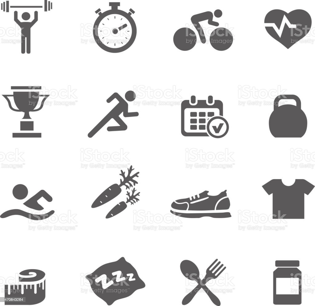 Health and Fitness icons vector set  with a stopwatch bodybuilder vector art illustration