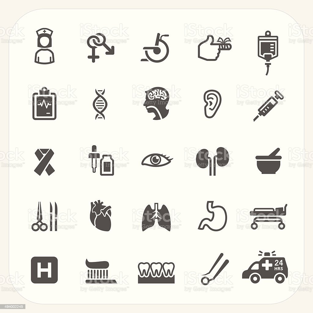 Health and Medical icons set vector art illustration