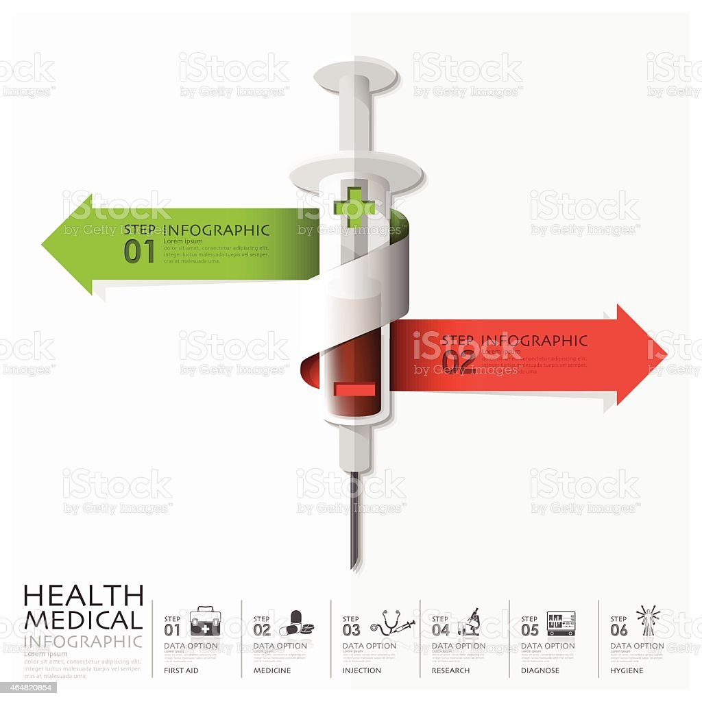 Health And Medical With Bind Spiral Arrow Syringe Diagram Infographic vector art illustration