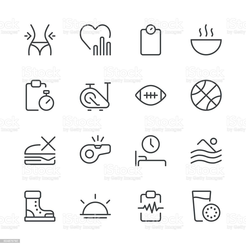 Health and Nutrition Icons set 2 | Black Line series vector art illustration