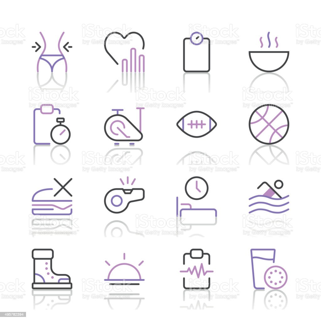 Health and Nutrition Icons set 2 | Purple Line series vector art illustration