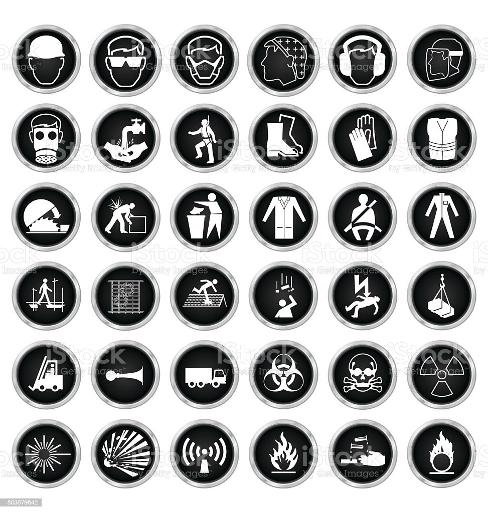 Health and Safety and hazard Icon collection vector art illustration