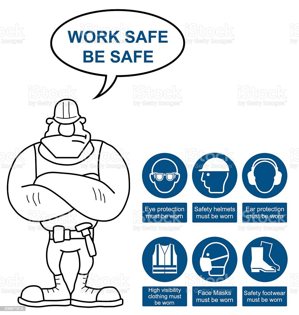 Health and Safety Signs vector art illustration