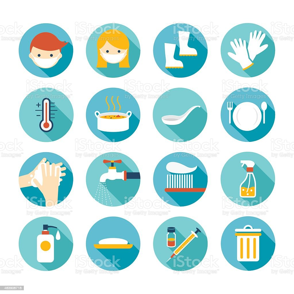 Health and Sanitation Flat Icons Set vector art illustration