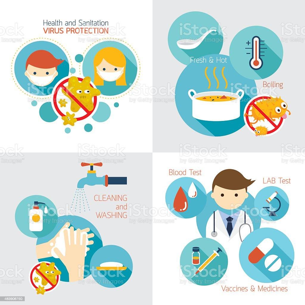 Health and Sanitation Infographics vector art illustration