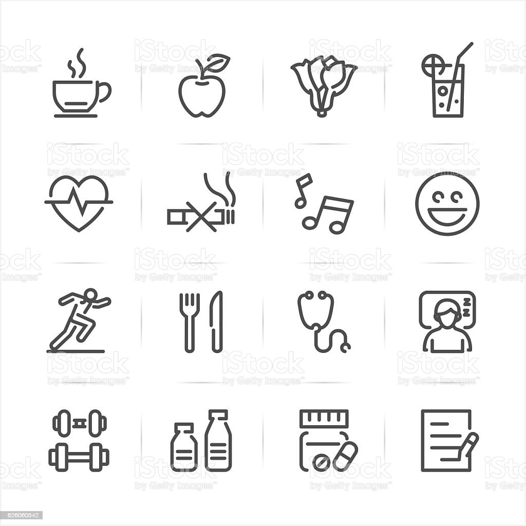 Health and Wellness icons vector art illustration