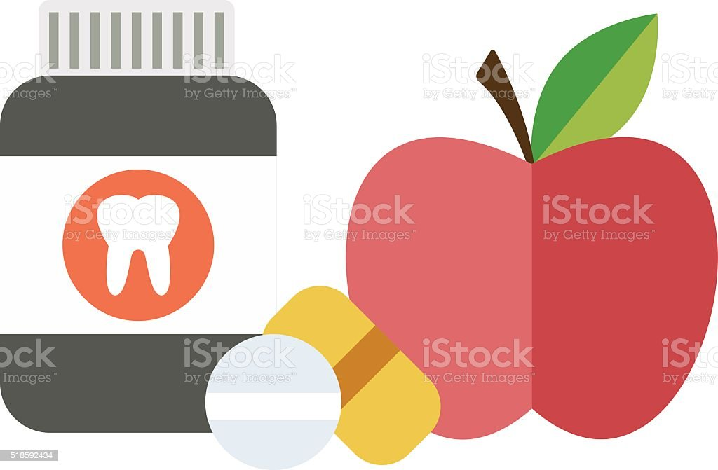 Health balanced diet concept choice between two sources vitamins pills vector art illustration